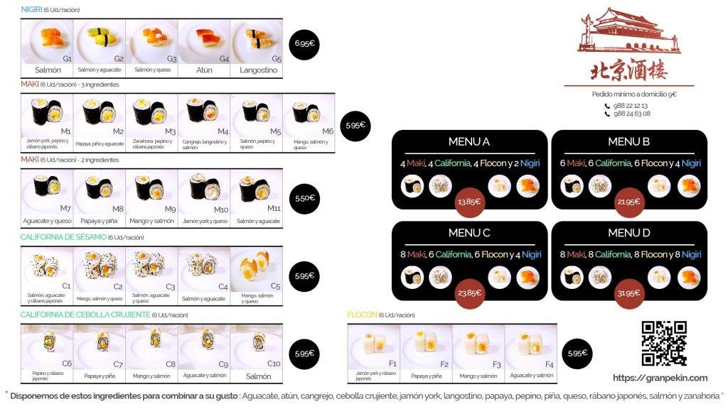Carta sushi - Restaurante Chino Ourense - Gran Pekín
