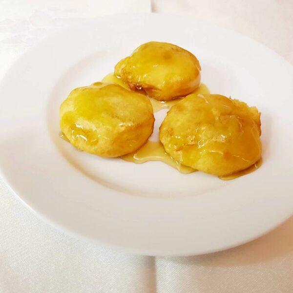 Manzana frita con miel gran pekin ourense