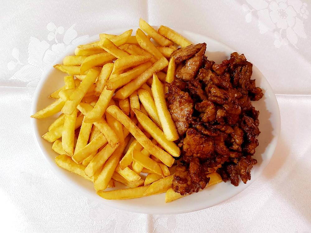Ternera con patatas fritas gran pekin ourense
